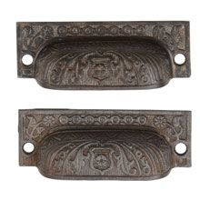 """Pair of Cast Iron """"Windsor"""" Bin Pulls by Reading c 1885"""