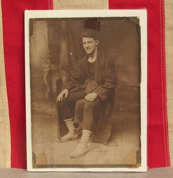 """Vintage 1870s Boxer Antique Cabinet Photograph Boxing Photo Kid Albert 5"""" x 7"""""""
