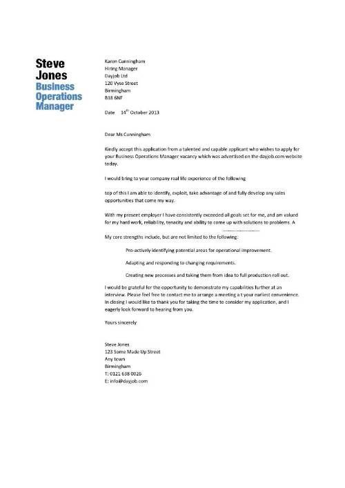 Business Operations Manager Resume Template Purchase Cover