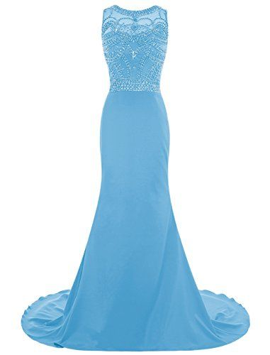 Dresstells® Long Prom Dress Scoop Mermaid Dress Chiff…