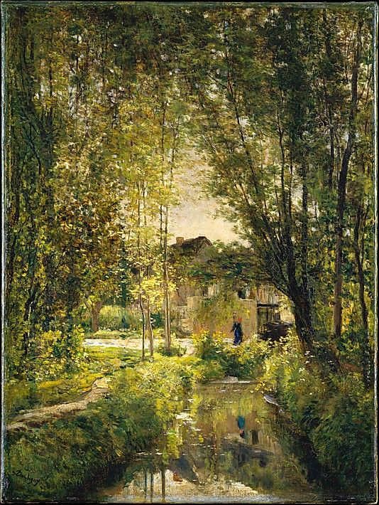 Charles François Daubigny (French, 1817-1878). Landscape with a Sunlit Stream. ca. 1877.: