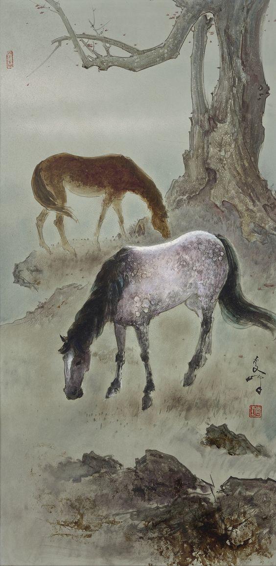 Lee Man Fong - A Pair of Horses