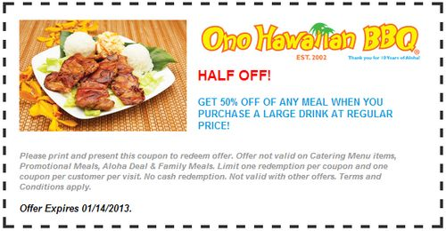 Ono hawaiian bbq coupons discounts