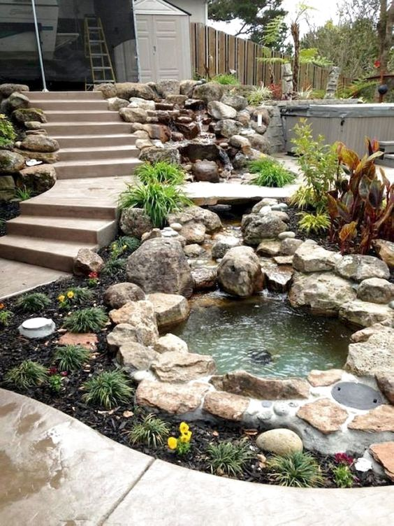 30 Stunning Backyard Ponds Ideas With Waterfalls #Backyard #PondsWaterfall