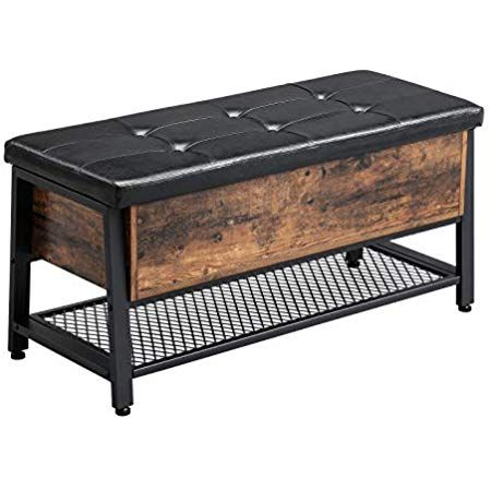 Vasagle Industrial Storage Bench Shoe Bench With Padded Seat And