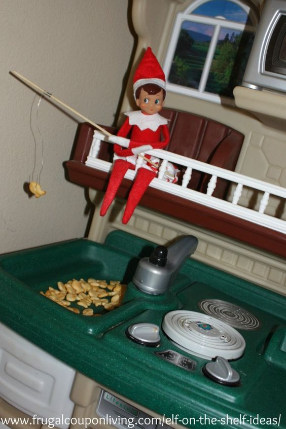Easy the elf on the shelf ideas elf goes fishing elf for Elf on the shelf fishing