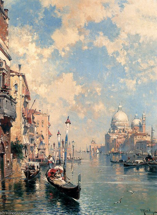 """""""le grand canal venise"""" de Franz Richard Unterberger (1837-1902, Austria)"""