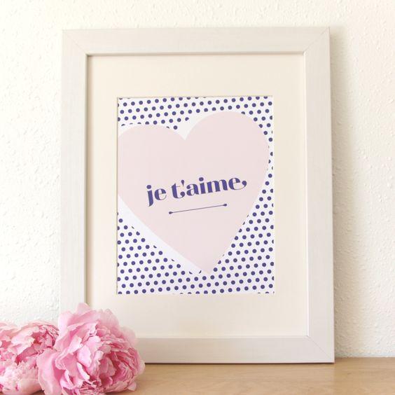SALE! Half Tone Je T'aime Art Print