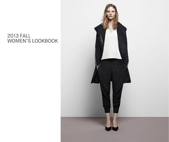 Women's Lookbook | Vince. Slouchypants, pointy heels, long jacket/coat.
