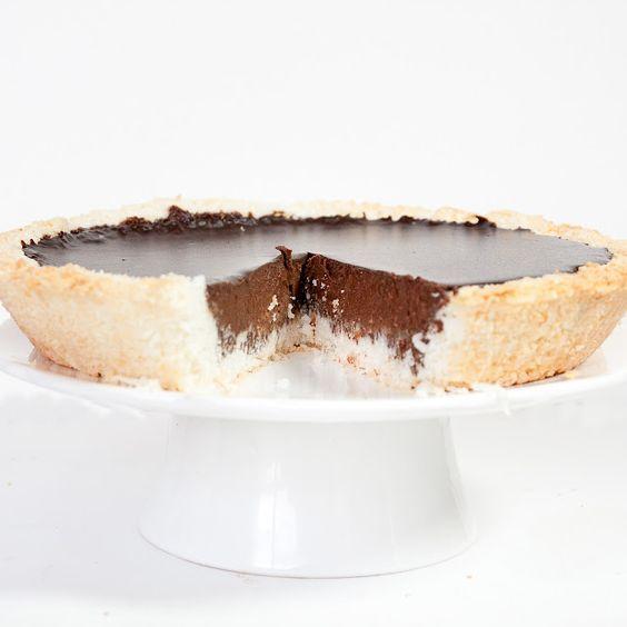 pie: chocolate ganache in a coconut crust