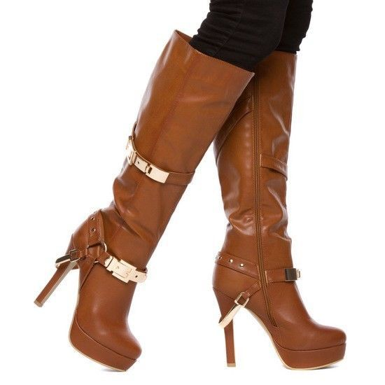 Paper Fox Brown STILETTO HEEL PLATFORM KNEE HIGH HIGH Heel WOMEN ...