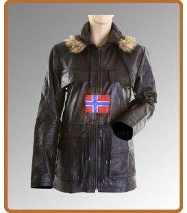 Swedish Bomber Hooded Peacoat Jacket   Womens leather jacket