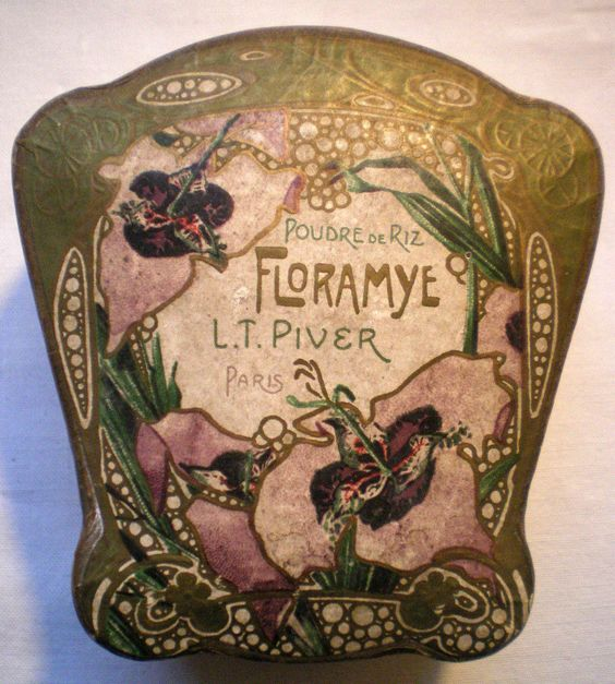 French Powder Box Floramye Lt Piver Paris Decor Art Nouveau Orchid: