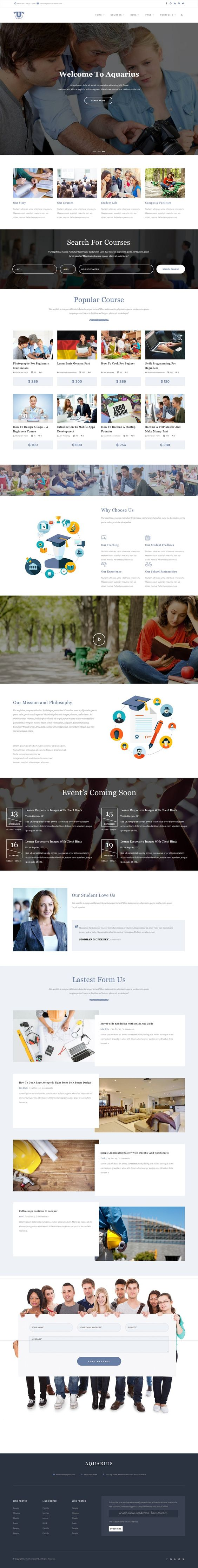 aquarius educational university drupal template drupal aquarius is a modern and crisp design premium drupal theme for educational institutions like colleges courses and events website now10159