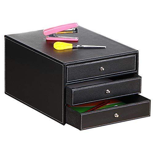 Office Desk Supply Organizer Leather Letter Trays 3 Drawers Files Sorter Cabinet Document Holder Workp Stationery Storage Office Desk Supplies Desktop Storage