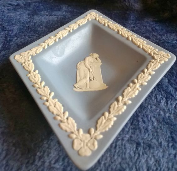 Wedgwood Dish, Blue Jasperware, Diamond Dish, Pin Tray, Trinket Dish, Collectible Ceramic by TillyofBloomsbury on Etsy