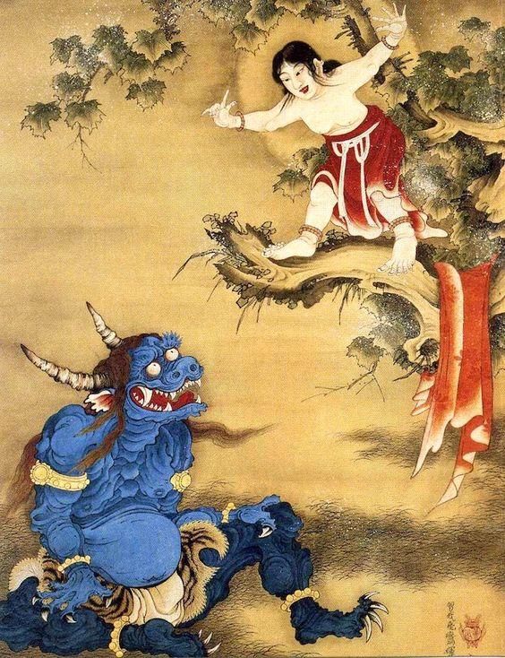 雪山童子図(曾我蕭白 画)の拡大画像