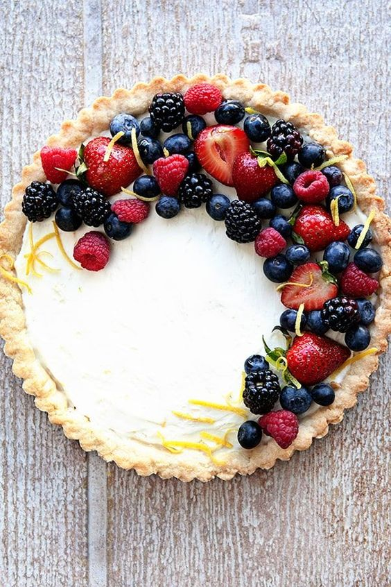 """Fresh Lemon Berry Mascarpone Tart Dessert Recipe 
