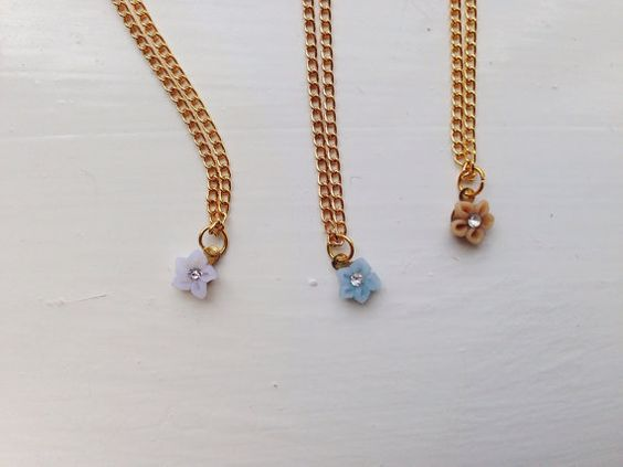 new colours for the tiny flower -necklace (tiny fimo clay pink tone flower with crystal stone on a gold plated chain)