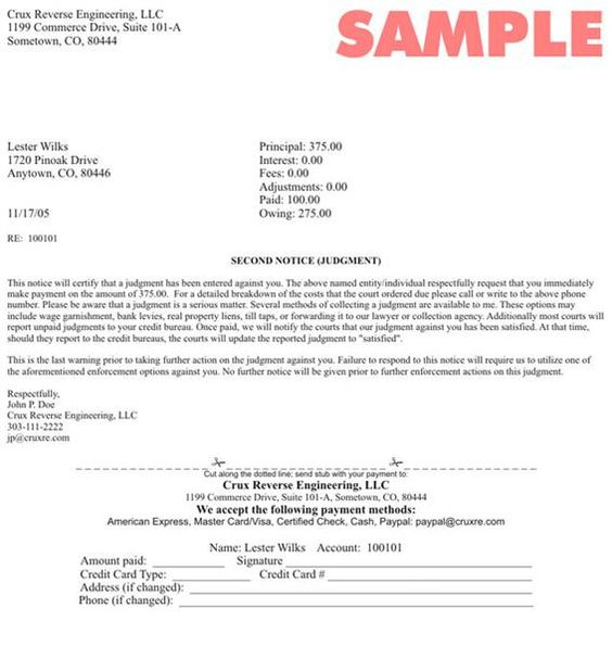 Personal Debt Collection Letter Sample