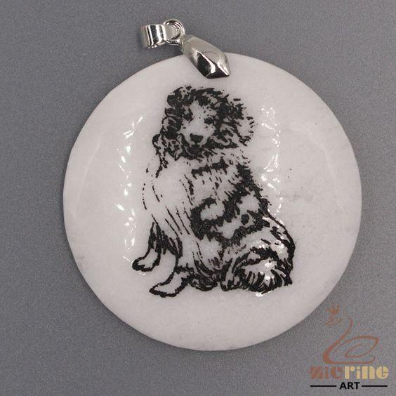 STONE  NECKLACE BLACK PAINTING DOG PENDANT WHITE GEMSTONE ZL7001527 #ZL #PENDANT