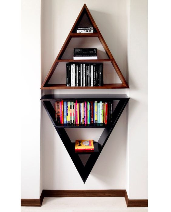 Bookshelves diy wine racks and shelving on pinterest - Triangular bookshelf ...