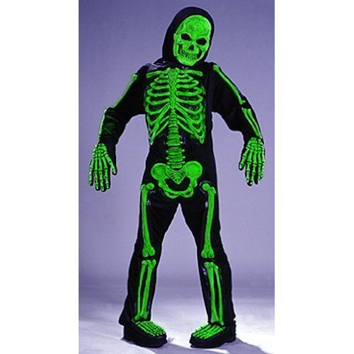 http://profitpin.com/pinnable-post/kids-scary-green-bones-skeleton-boy-halloween-costume-m-boys-medium-sz-8-10 Green Totally Skelebones  THIS ITEM INCLUDES Jumpsuit with 3-D Bones, Hooded Mask, Gloves, Boot Tops