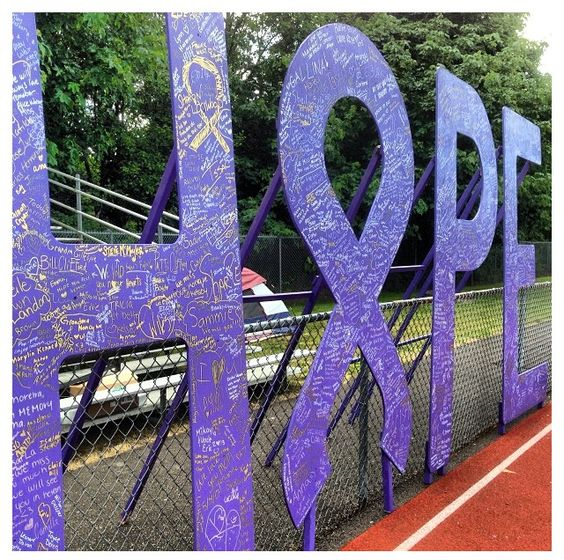 Hope sign at event. Cool. #relayforlife I want to paint it with glow in the dark paint