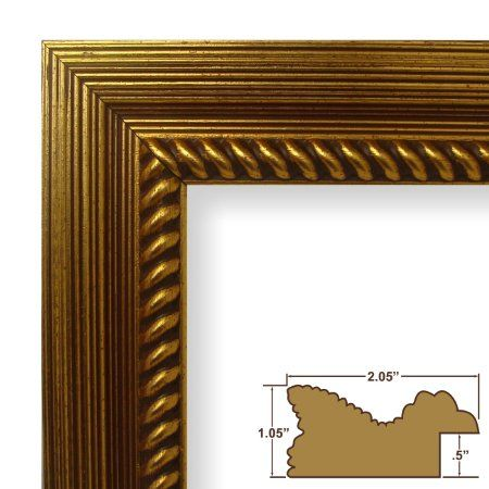 "Amazon.com - 13x17 Picture / Poster Frame, Painted Ornate Wood Grain Finish, 2.125"" Wide, Rich Gold (77845400) -"