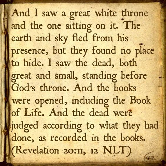 Judgement Day. Let our names be written in the Book of