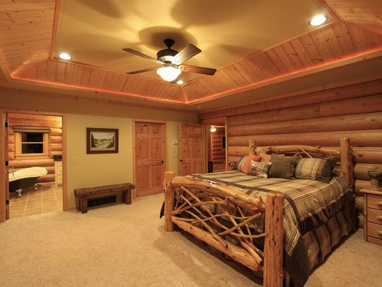 Log home bedroom adirondack style bed frame for the home pinterest style cabin and logs - Adirondack bed frame ...