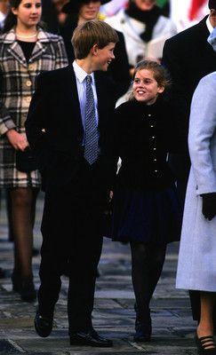 Prince Harry (child of Prince Charles  Diana Spencer) of Wales  Princess Beatrice (child of Prince Andrew  Sarah Ferguson) of York at Greenwich, November 1997.