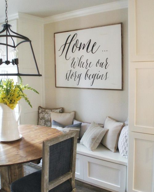 wall spaces sign on for the kitchens couch window dining rooms wall