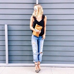 Style blogger from 'Damsel in Dior' is casually chic by pairing our Chelsea Cami with distressed boyfriend jeans and strappy heels. www.caminyc.com