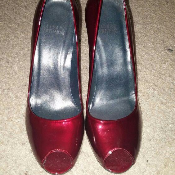 Stuart Weitzman pumps Stuart Weitzman dark red patent leather pumps. Worn only once. Stuart Weitzman Shoes Heels