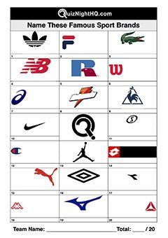 Sport Brand Company Logos Trivia Picture Round In 2020 Sports Brands Logo Quiz Sports Brand Logos