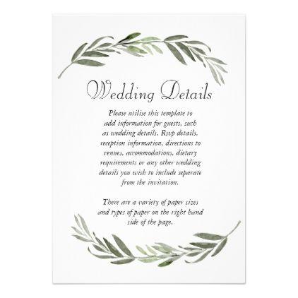 Elegant Green Leaf Wedding Reception Details Invitation