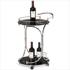Leick Furniture Favorite Finds Round Wine Serving Black Gls & Chrome Bar Cart