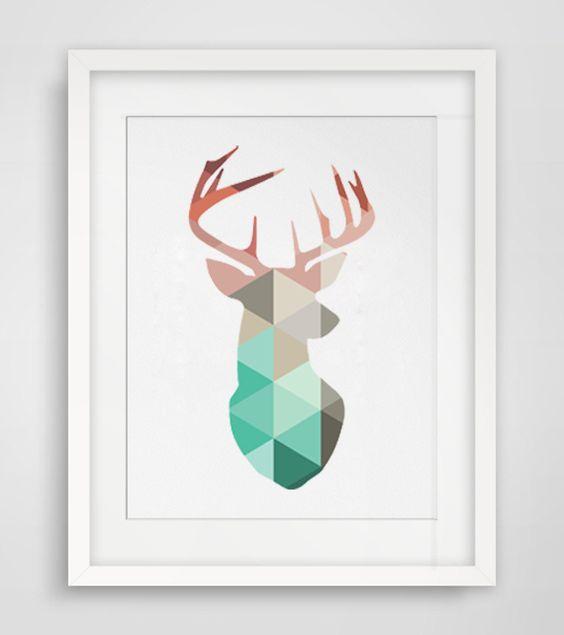 Geometric Purple Deer Wall Art Print Modern Poster Buck: Canvas Art Prints, Deer Heads And Print Poster On Pinterest