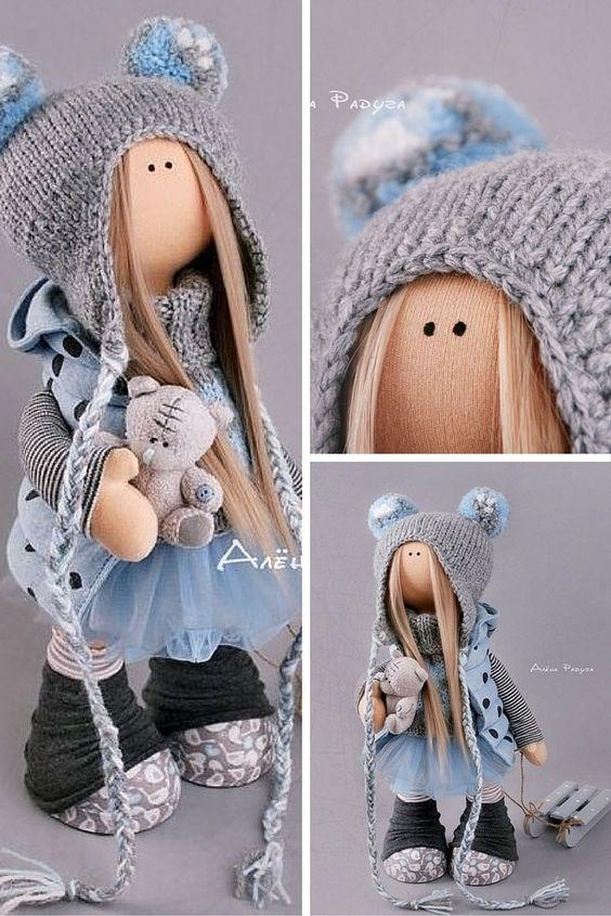 Decor doll toy Tilda doll Interior doll Art doll blonde blue colors soft doll…