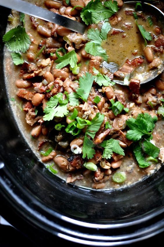 Slow Cooker Borracho Beans Recipe. Pinto beans simmered with bacon ...