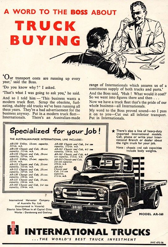 1954 International Harvester A Word To The Boss About Truck Buying Aussie Original Magazine Advertisement International Harvester International Pickup Truck Vintage Trucks