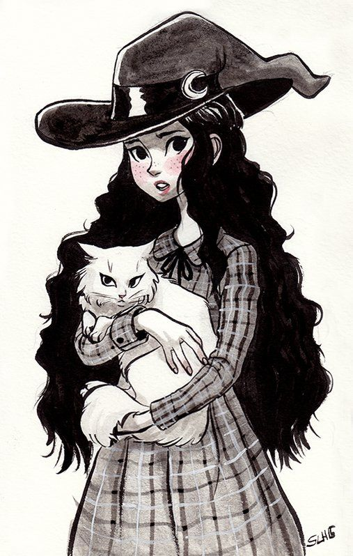 Sarah-Lisa Hleb: A little #witch for @Sketch_Dailies ! Happy #Halloween ! #inktober
