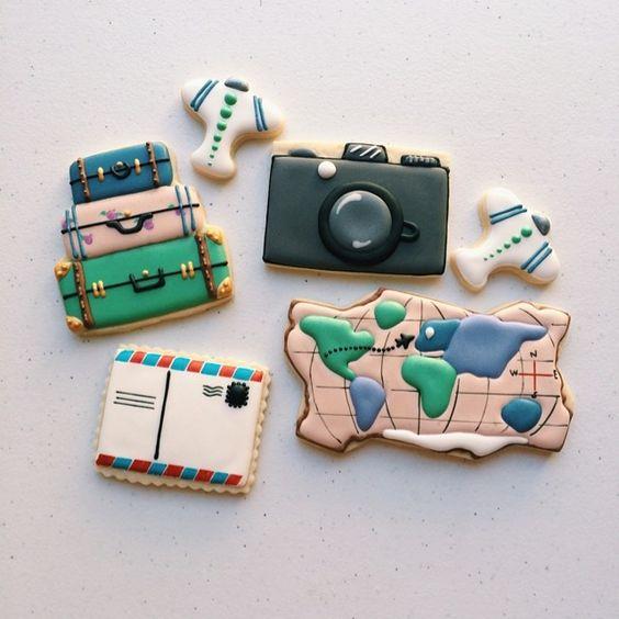 """#travel themed #customcookies for high schoolers en route to the EU! Found mini airplane #cookiecutters at #daiso ! #travelcookies #cameracookies #mapcookies #postcardcookies #luggagecookies"" Photo taken by @idreamofcookiesdotcom on Instagram, pinned via the InstaPin iOS App! http://www.instapinapp.com (06/11/2014)"