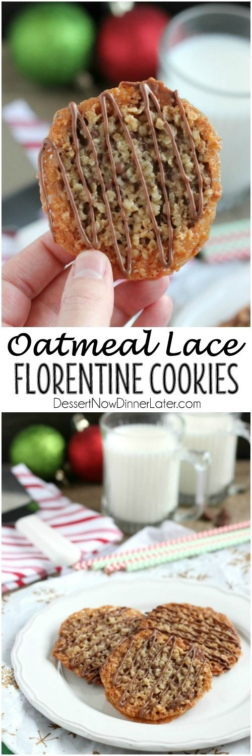 Oatmeal Lace Florentine Cookies - Thin, crisp, buttery cookies are sandwiched between melted milk chocolate with an extra chocolate drizzle on top. They taste like toffee and they look like lace. These Florentine Cookies are a Christmas favorite!