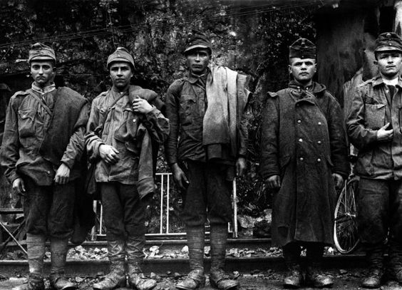 Young Austrian soldiers lining up after being captured by the Troops of the Entente 1916