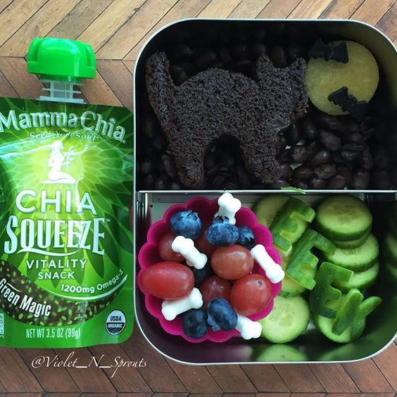 Preschool doesn't rest on Columbus Day Tomorrow's #schoollunch for G is a homemade chocolate bread black cat at night (black beans) plum moon, candy bats and bones, fruit, cucumbers and a #mammachia squeeze #lunch #preschoolideas #lunchideas #kidslunch #poweryourlunchbox #produceforkids @produceforkids @mammachia