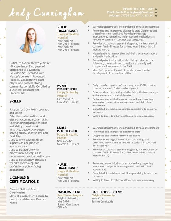 Andy Cunningham Modern Resume and Matching Cover Letter Template - advanced practice nurse sample resume