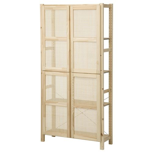 Nordkisa Open Wardrobe With Sliding Door Bamboo Width 47 1 4 Height 73 1 4 Find It Here Ikea Shelf Unit Shelving Unit Shelving