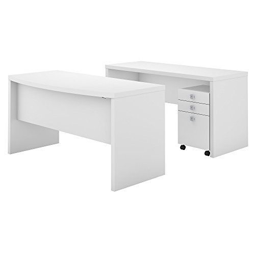 Office By Kathy Ireland Echo Bow Front Desk And Credenza With